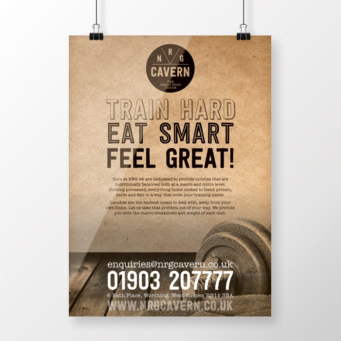 Lunchtime menu design for NRG Cavern Worthing