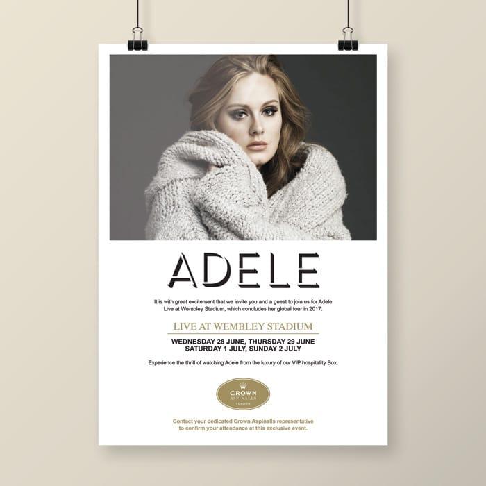 design for Adele live at Wembley concert invite