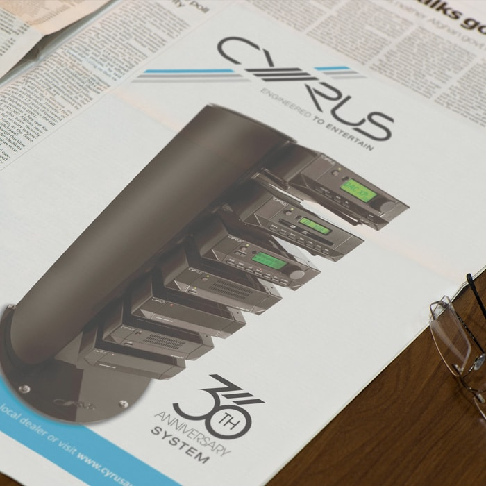 Cyrus Audio advert design for advertising their anniversary
