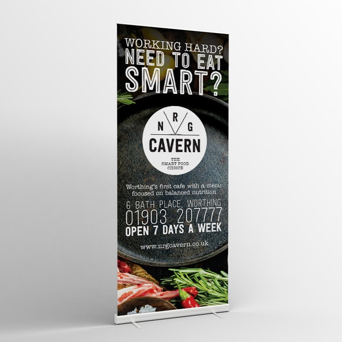 Roller banner design for the NRG Cavern Worthing