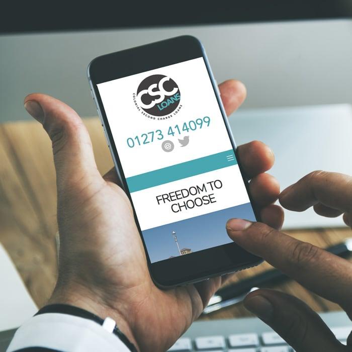 Mobile website design for CSC loans Brighton