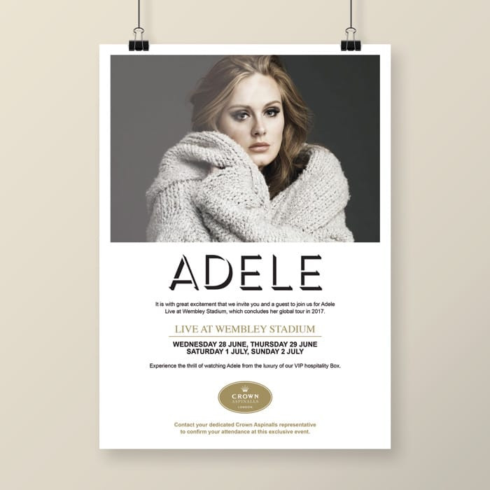 design for Adele live at Wembley concert invite