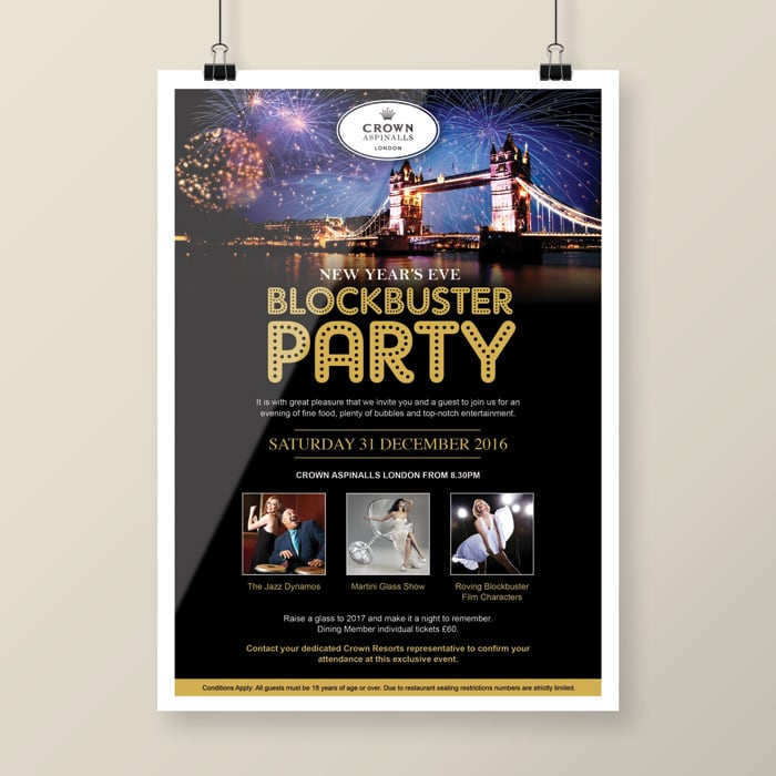 New Year Party invite design London
