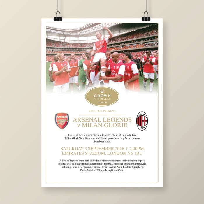 Arsenal Legends v Milan Glorie invite design