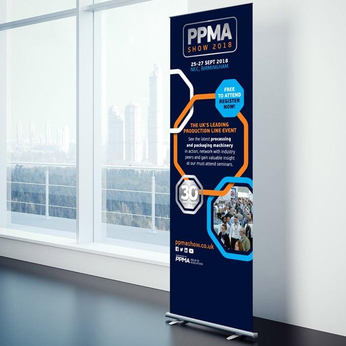 PPMA rebrand project - roller banner design